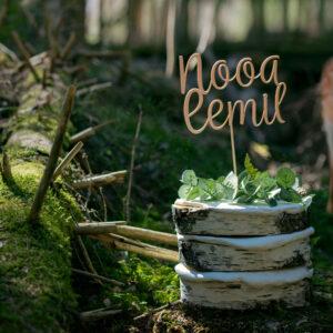 Koivukakku metsässä ja sen päällä kakkukoriste Nooa Eemil tekstillä. Taustalla katselee peura.
