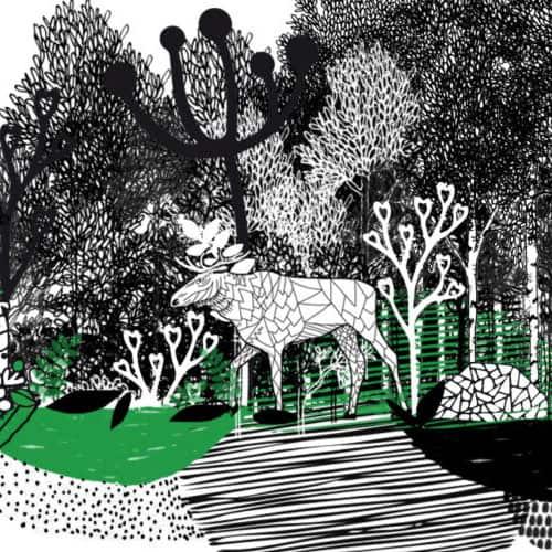 Mustavalkoinen satumainen Irina K designin piirtämä kuva, jossa metsää ja hirvi.