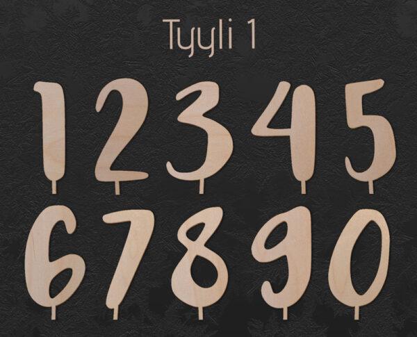 Vaneriset numerokyltit nollasta yhdeksään tyylillä yksi.