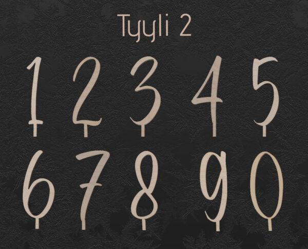 Vaneriset numerokyltit nollasta yhdeksään tyylillä kaksi.
